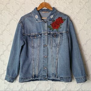 Highway Jeans Rose Embroidered Jean Jacket